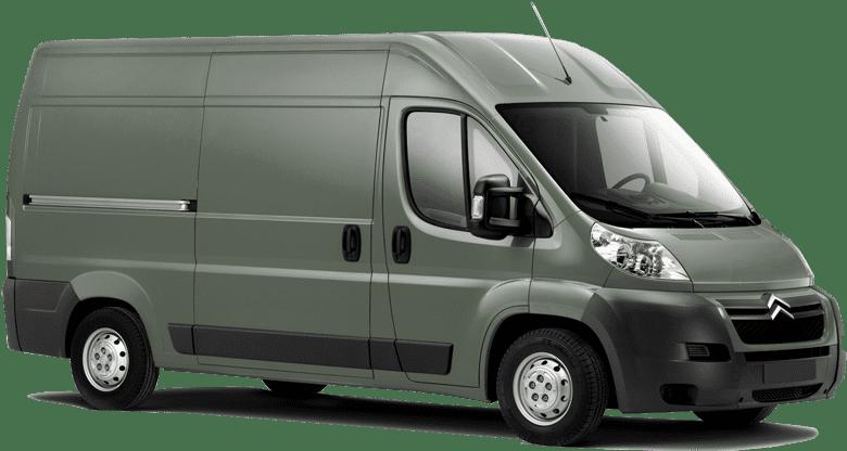 Vihreä pakettiauto sivusta